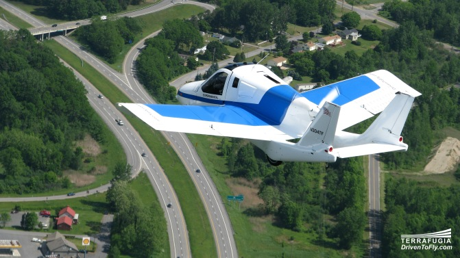 Terrafugia's Transiotion flying car promises to cut travel time by rising above traffic jams.
